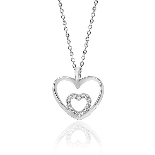 sterling silver double heart cz pendant and chain