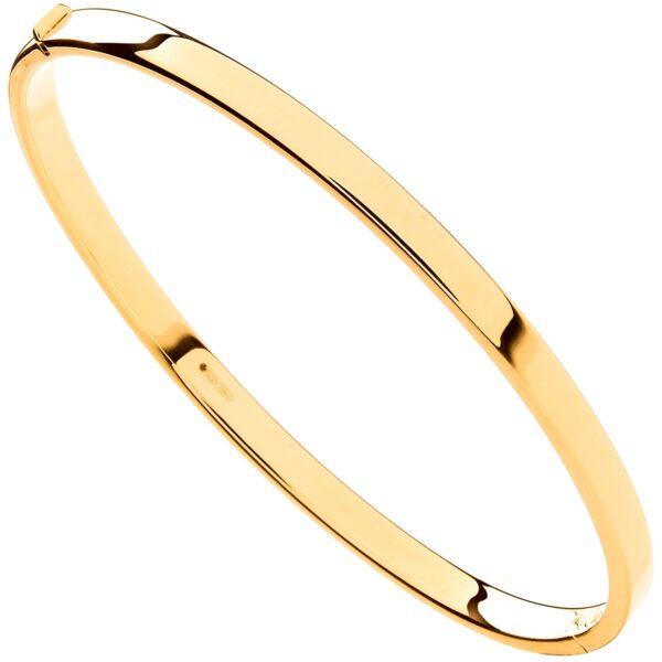 9 carat yellow gold plain bangle hinged