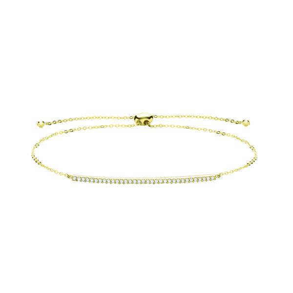 9 carat yellow gold cz bar bracelet