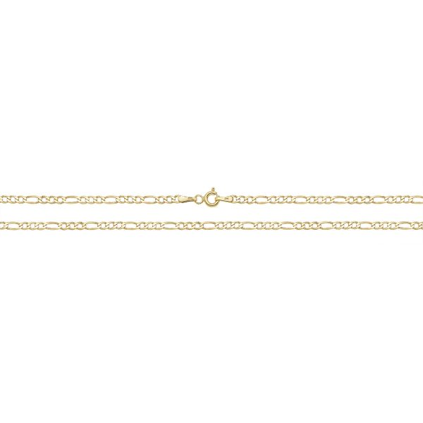 9 carat yellow gold figaro bracelet