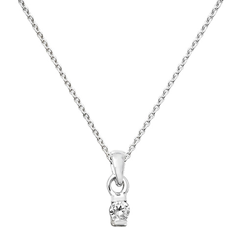 sterling silver 3mm cz pendant and chain