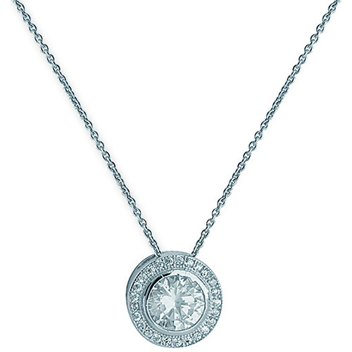 sterling silver halo style pendant and chain