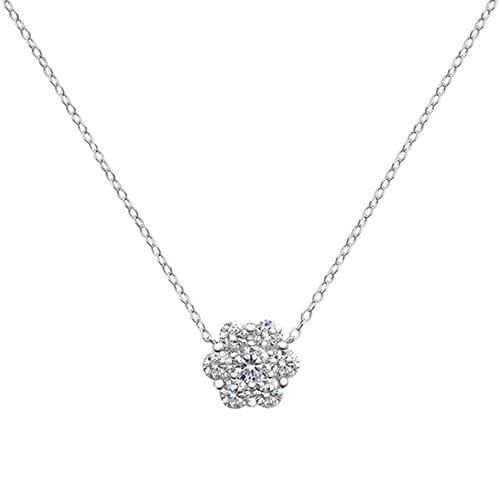 sterling silver cz flower pendant