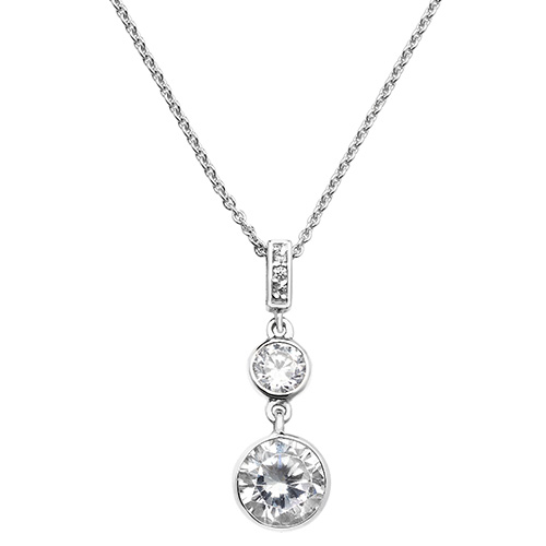 sterling silver cz drop pendant and chain