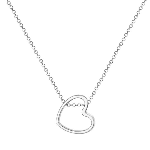 sterling silver offset heart pendant and chain