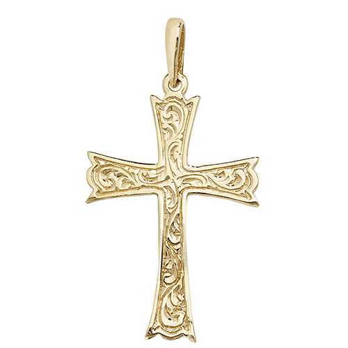 9 carat yellow gold patterned cross
