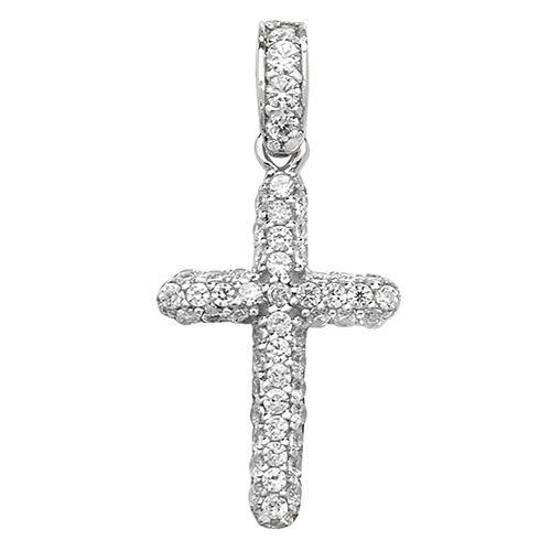 9 carat white gold cz cross