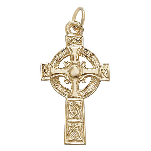 9 carat yellow gold celtic cross pendant
