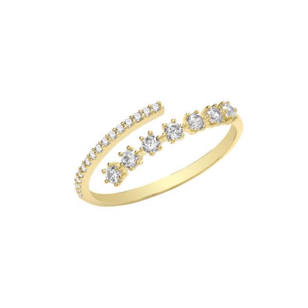 9 carat yellow gold cubic zirconia wrap ring