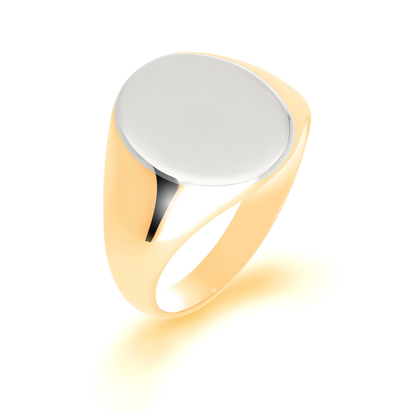 9 carat white and yellow gold signet ring
