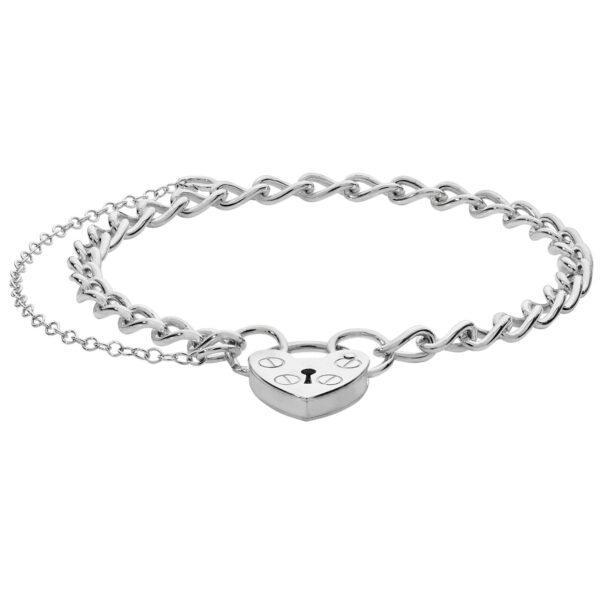 silver charm bracelet heart padlock