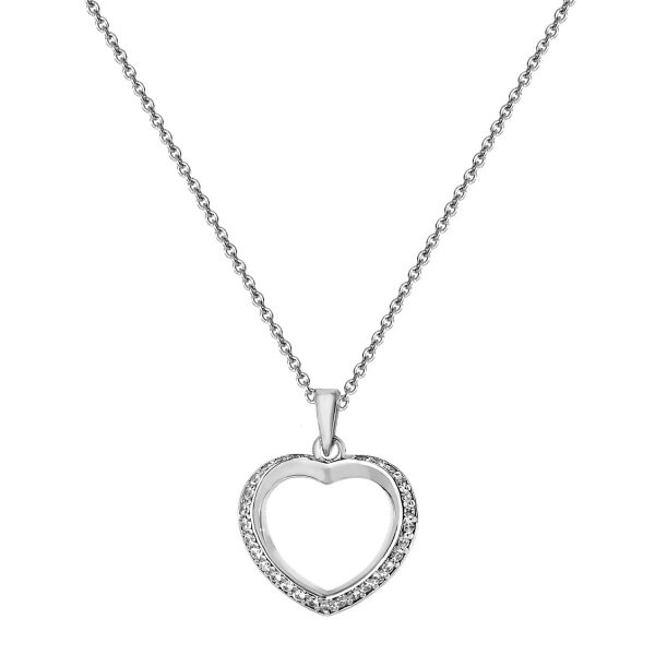 sterling silver cz heart pendant And Chain