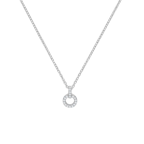sterling silver cz open circle pendant and chain