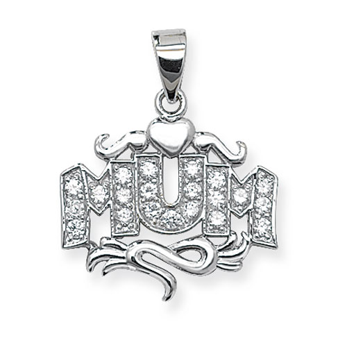 silver mum pendant