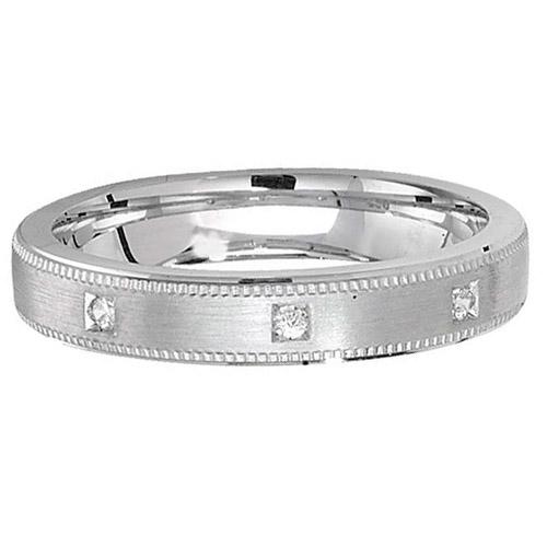 sterling silver cz 4mm satin finish wedding ring
