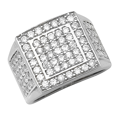 sterling silver pave set cz ring