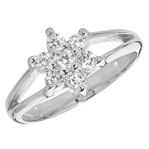 sterling silver fancy cz ring