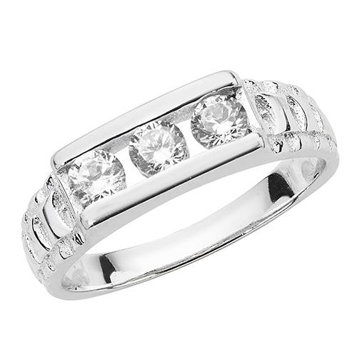 sterling silver 3 cz ring