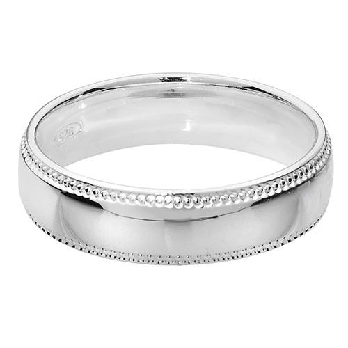 sterling silver 5mm milll grain wedding ring