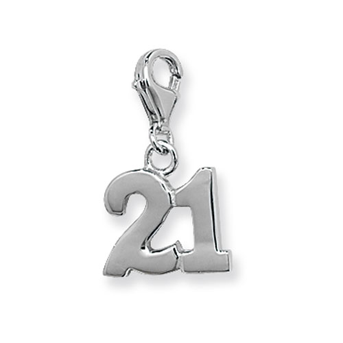 Sterling Silver 21 Charm