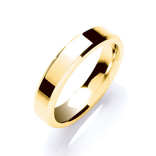 4mm Bevelled Edge Patterned Wedding Ring