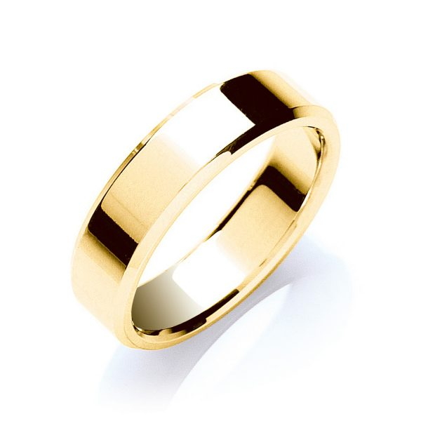 6mm Bevelled Edge Flat Court Wedding Ring
