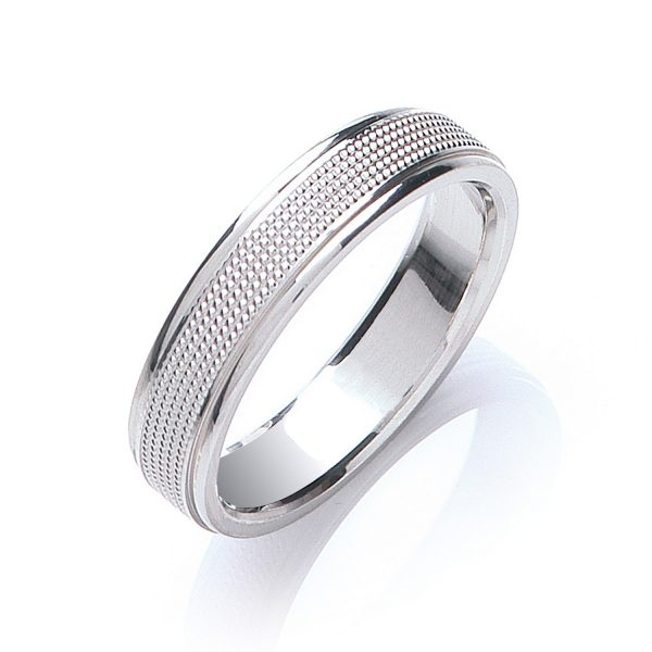 5mm Milgrain Centre Patterned Flat Court Wedding Ring
