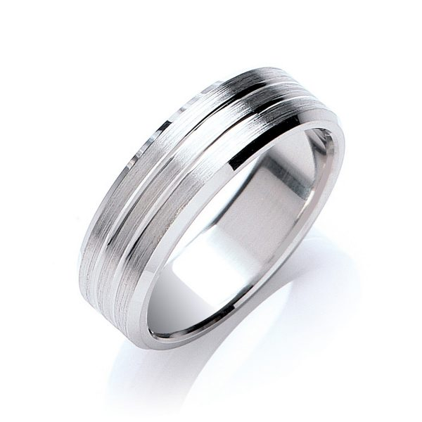 7mm Flat Court Double Track Line Bevelled Edge Wedding Ring