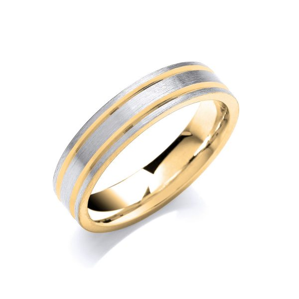 5mm Two Colour Track Line Patterned wedding Ring