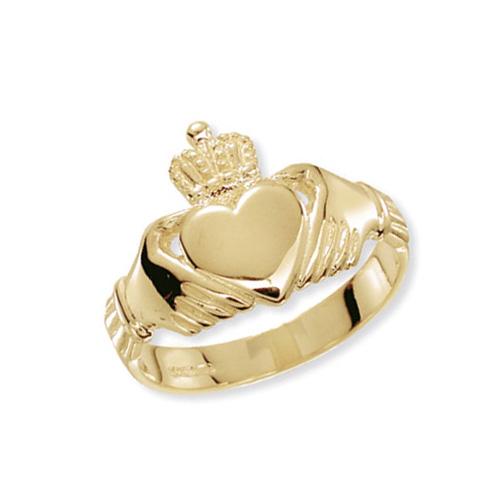 9 carat yellow gold claddagh ring