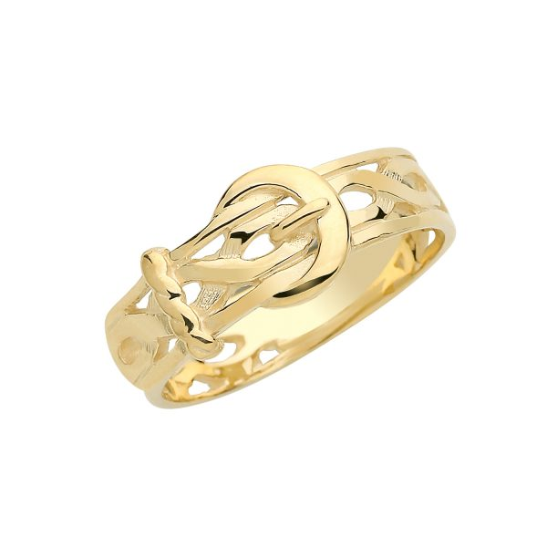 9 carat yellow gold buckle ring