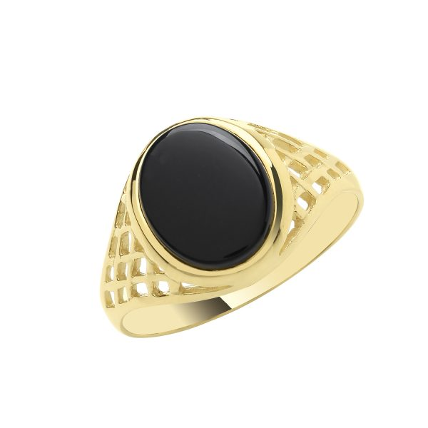 9 carat yellow gold onyx oval signet ring