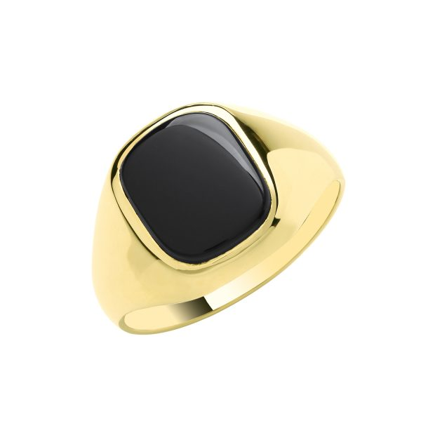 9 carat yellow gold signet ring set with onyx