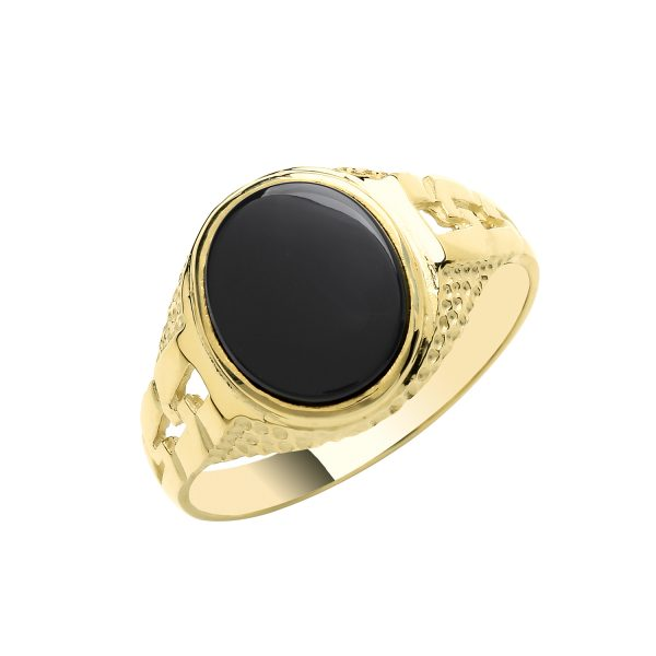 9 carat yellow gold onyx fancy signet ring