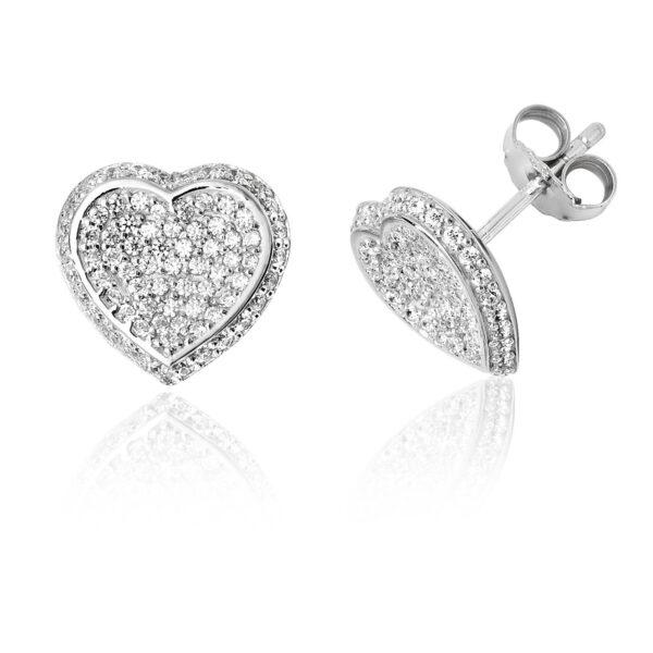 sterling silver heart shape earrings