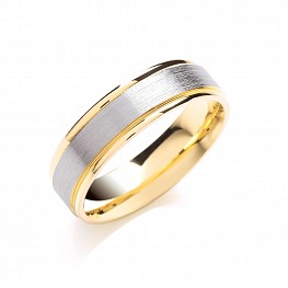 6mm Gold Two Colour Matt Centre Patterned Wedding Ring
