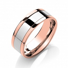 8mm Two Colour Patterned Wedding Ring