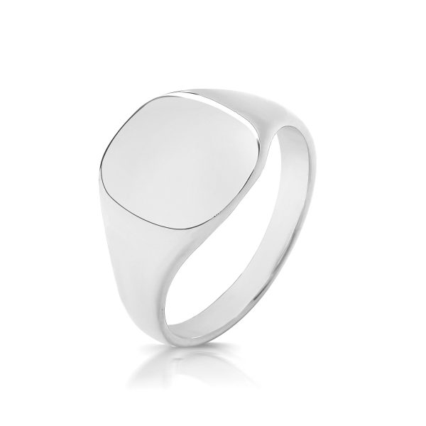 sterling silver 12 x 11 cushion shape signet ring