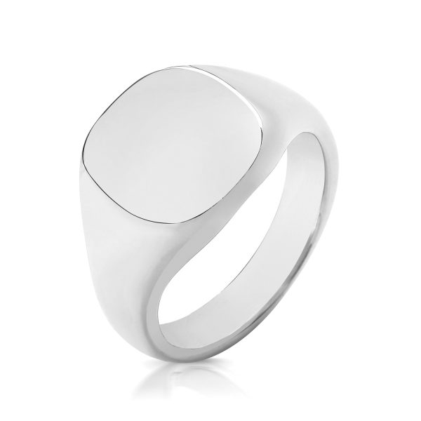 silver heavy signet ring cushion shape