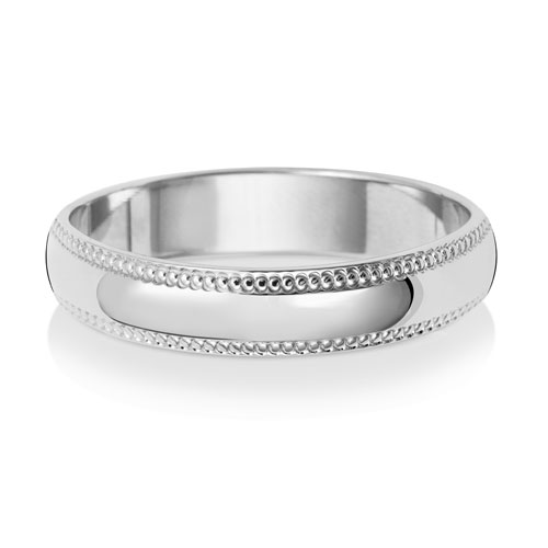 4mm D Shape Milgrain Wedding Ring