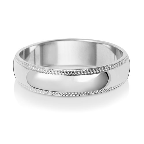5mm D Shape Milgrain Wedding Ring