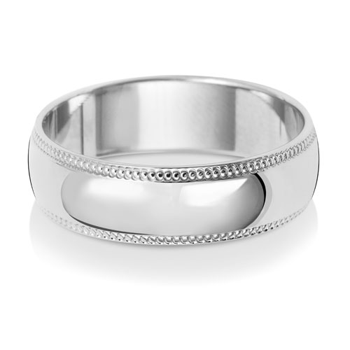 6mm D Shape Milgrain Wedding Ring