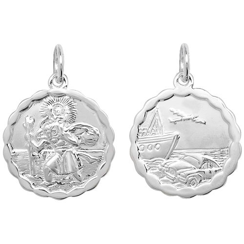 silver st christopher 20mm round