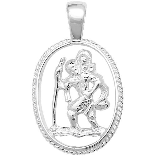 silver cut out st christopher pendant