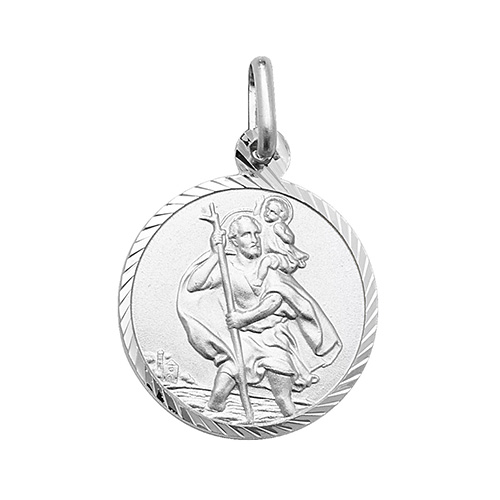 silver fancy st christopher pendant