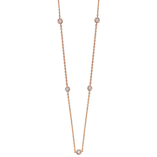 9 carat rose gold diamond necklet