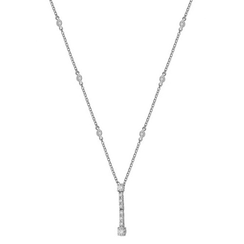 18 carat white gold drop diamond necklet