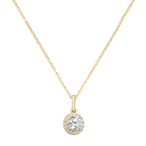 9 carat yellow gold cubic zirconia fancy pendant and chain