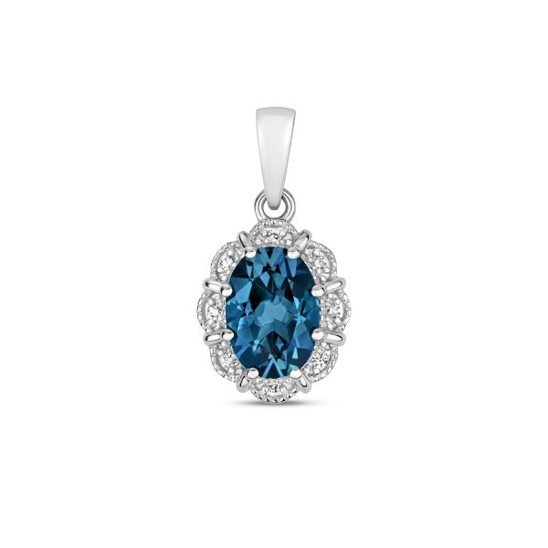 9ct white gold topaz and diamond pendant