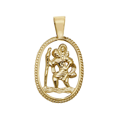 9 carat yellow gold st christopher cut out pendant